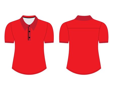 sleeves: Blank shirt with short sleeves template for men (front and back views) Illustration