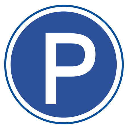 Parking sign on white background