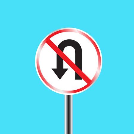u turn: Prohibitory traffic sign - u-turn prohibited