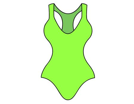 bathing costume: swimsuit green color on white background