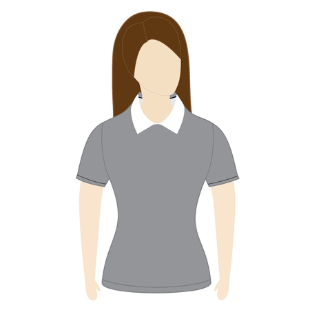 sleeves: polo shirt template with short sleeves on the mannequin on white background