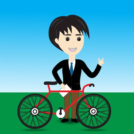Salesman bicycle thinking to money Vector