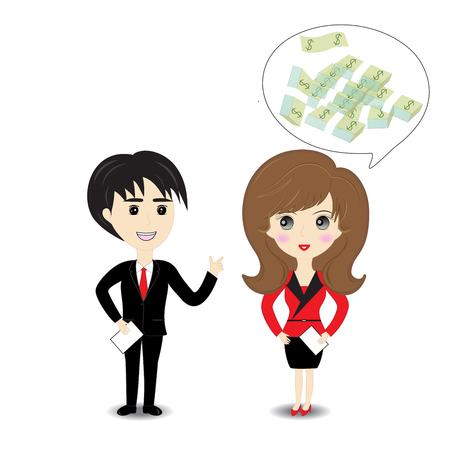 female teacher: Business man and woman on white background