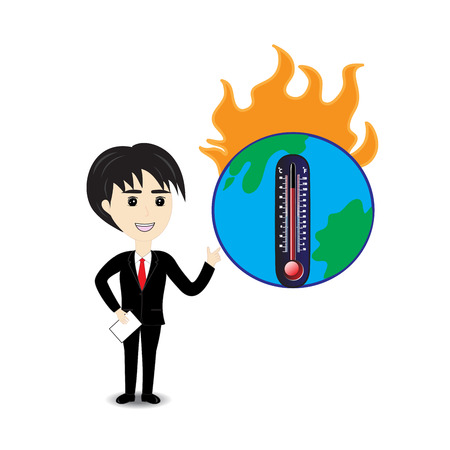 describe: Business man describe about global warming