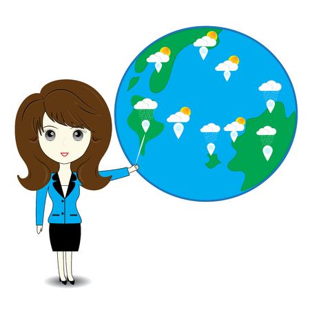 describe: Business woman describe about global warming Illustration