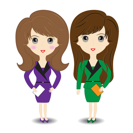 obrero caricatura: Mujer de negocios en fondo blanco