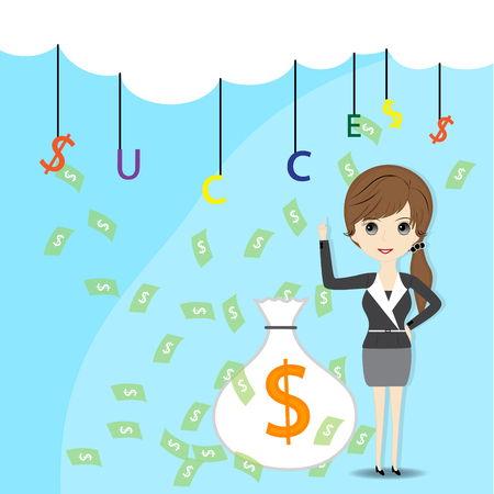 rich girl: Business woman with success finance concept