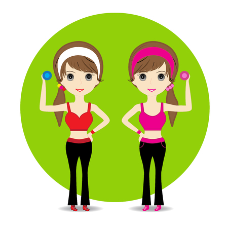 woman exercising: Cute Woman exercising in sport outfit holding dumbbell smiling on white background Illustration
