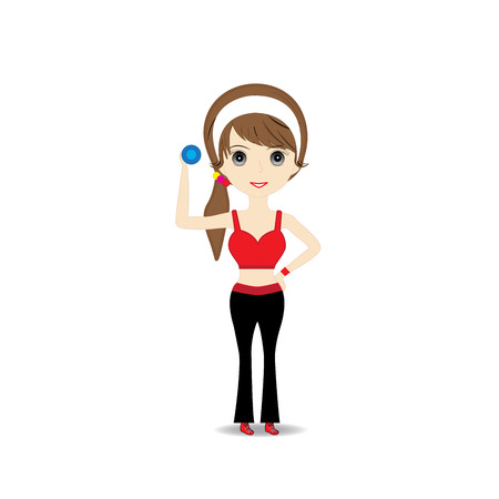 woman exercising: Woman exercising in sport outfit holding dumbbell smiling on white background