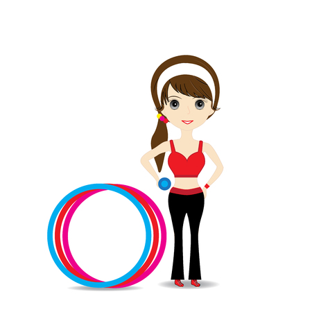hulahoop: Woman exercising in sport outfit holding dumbbell with hulahoop on white background