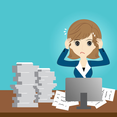 Busy business woman with too much workload