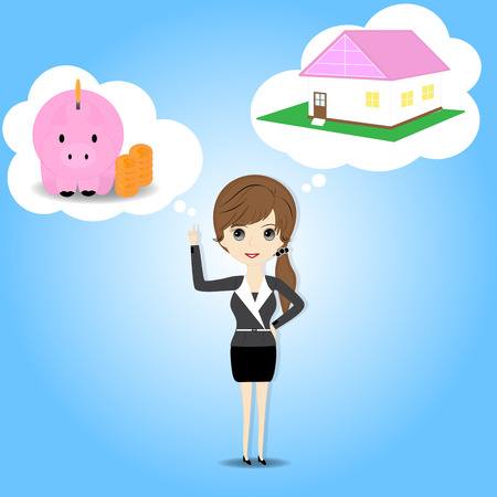 women and money: Women who plan to save money in the piggy bank and want a home