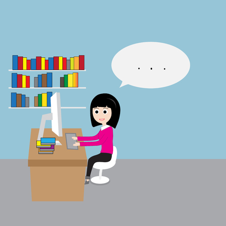 workload: Business woman working in the office