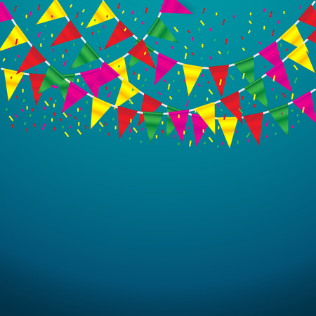 Celebrate banner. party flags with confetti on blue background Ilustração