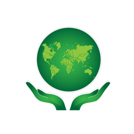 globe hand: Hands Holding The Green Earth Globe Vector Illustration