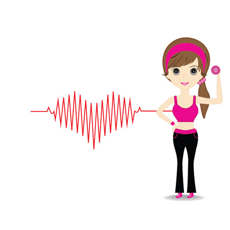 heart beats: Woman exercising in sport outfit holding dumbbell and heart beats cardiogram