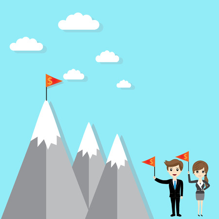 goal achievement: Flag on mountain. success and goal achievement business concept Illustration