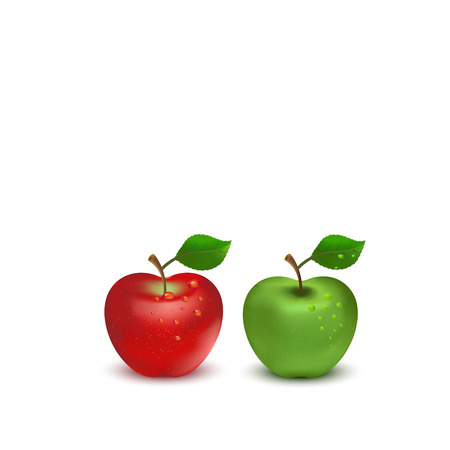 red apple: Red apple and green apple on white background