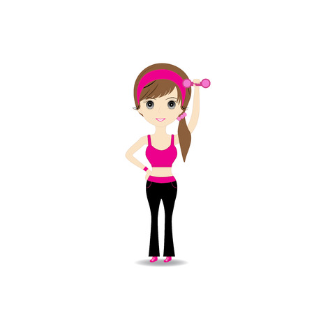 Woman exercising in sport outfit holding dumbbell smiling on white background