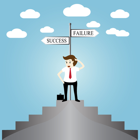 ponder: Businessman in front of a choice to the success or failure Illustration