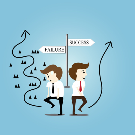 failure: Business man on the way to success and failure