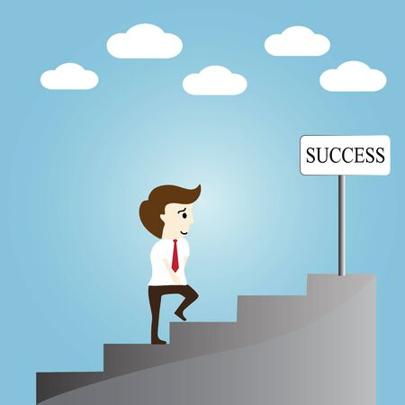 succes: Businessman walking up stairs to success Illustration