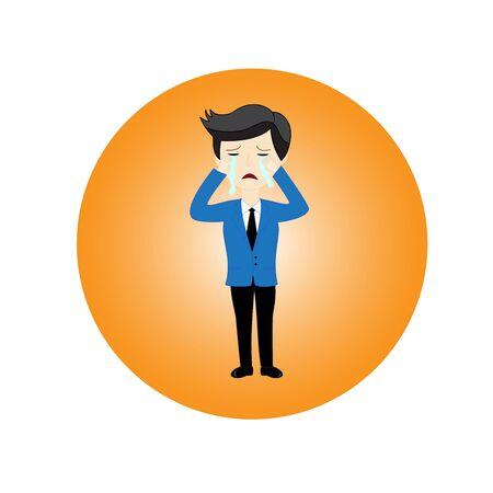 empresario triste: Hombre de negocios triste est� llorando sobre un fondo blanco Vectores