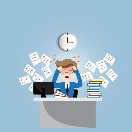 headaches: Overworked businessman is under stress with headache