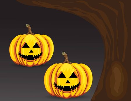 gourds: Halloween pumpkin scary at night Illustration