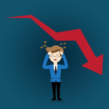falling man: Business man in crisis of graph falling down