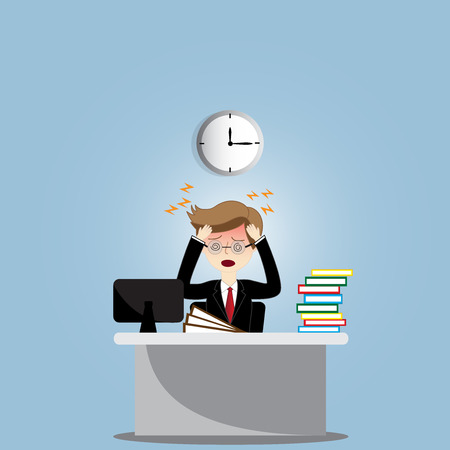 worried executive: stressed business man in the office Illustration