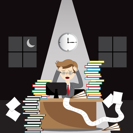 stressed business man in the office Illustration