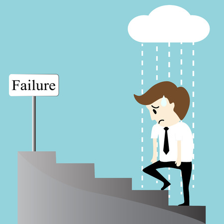 hopeless: Depression bankruptcy unemployed sadness hopeless businessman vector illustration
