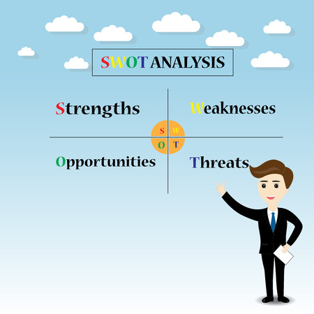 swot: swot analysis concept business man pointing finger Illustration