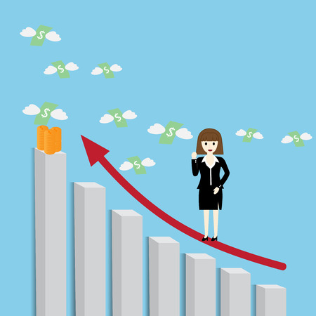 Businesswoman standing on a growing graph Illustration