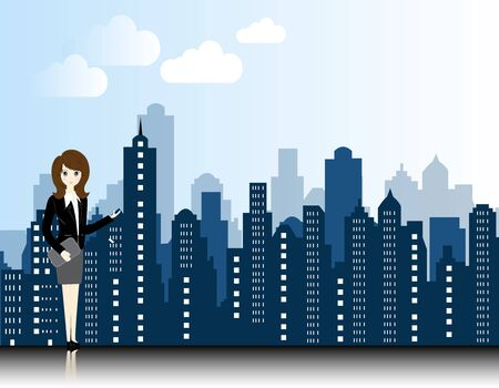 city background: business woman with city landscape background
