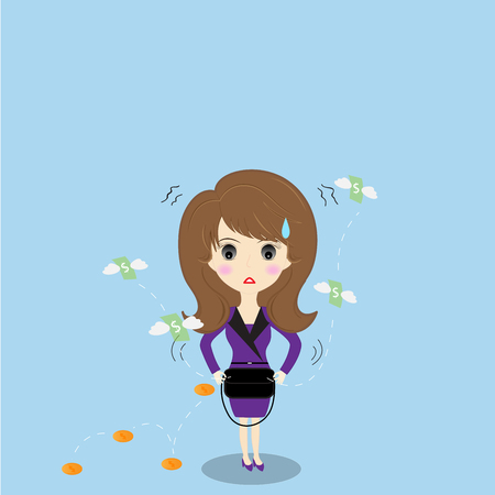 empty pocket: Business woman has no money Illustration