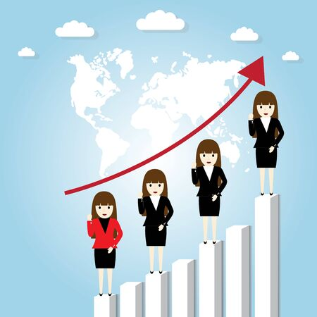 businesswoman standing: Businesswoman standing on a growing graph Illustration