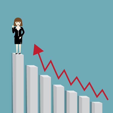 businesswomen: Businesswomen standing on top of bar graph