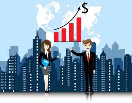 city landscape: businessman and businesswoman with city landscape background