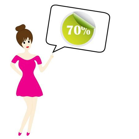 hair pins: cute woman with speech bubble on sale Illustration