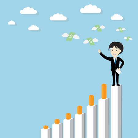 traders: Businessman standing on a growing graph