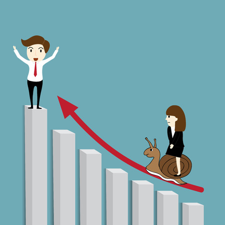 winner man: Business man the winner and business woman riding snail on a growing graph Illustration