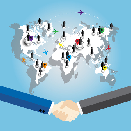 hombres ejecutivos: Two business men shaking hands on world map background Vectores