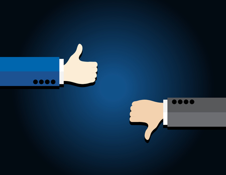 THUMBS DOWN: Thumb up and thumb down on blue background business concept Illustration
