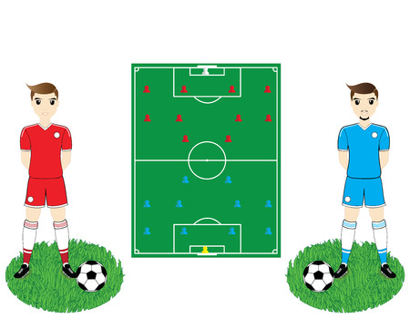 soccer field: soccer field and players Illustration