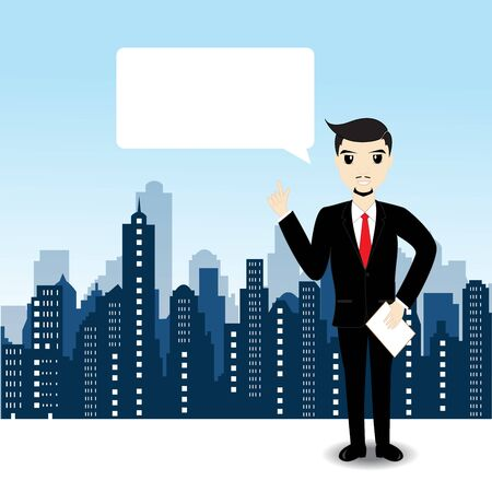city landscape: Businessman on city landscape background Illustration