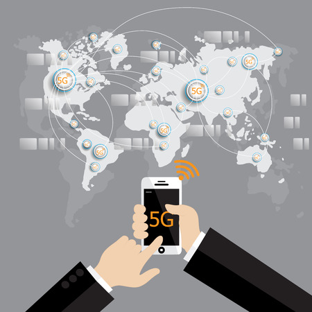 Modern communication technology mobile phone high tech, wide web connection concept. Hand holding white smartphone connected browsing internet worldwide world map background. 5g data plan provider