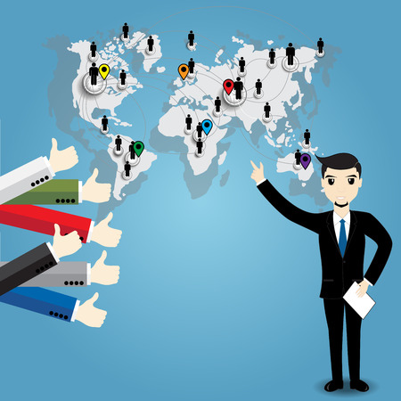 thumb up: Businessman with world map and Thumb up Illustration