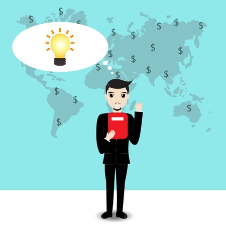 world thinking: Businessman thinking work plan with world map